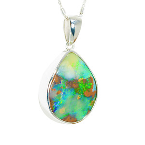 MAGIC ELECTRIC FOREST NATURAL AUSTRALIAN SOLID BOULDER OPAL NECKLACE