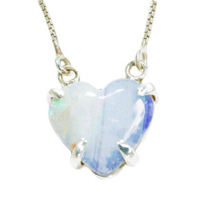 CRYSTAL POWDER LOVE HEART SHAPED AUSTRALIAN OPAL NECKLACE
