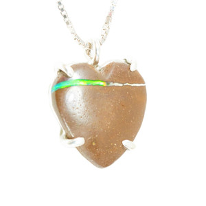 ELECTRIC LOVE HEART SHAPED AUSTRALIAN OPAL NECKLACE