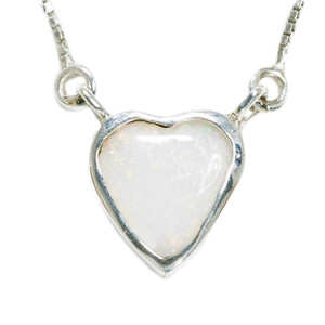 ELECTRIC POWDER LOVE HEART SHAPED AUSTRALIAN WHITE OPAL NECKLACE