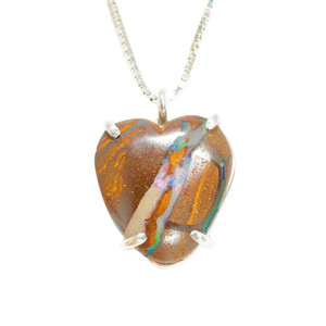 DEEP LOVE HEART SHAPED AUSTRALIAN OPAL NECKLACE
