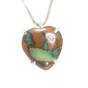 NATURES DESIRE HEART SHAPED AUSTRALIAN SOLID BOULDER OPAL NECKLACE