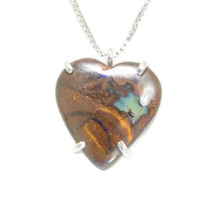 ELECTRIC PASSION HEART SHAPED AUSTRALIAN OPAL NECKLACE