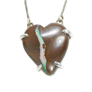 LARGE ELECTRIC RAINBOW LOVE HEART SHAPED AUSTRALIAN OPAL NECKLACE