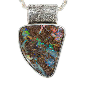 ELECTRIC RAINBOW ADVENTURE NATURAL AUSTRALIAN SOLID BOULDER OPAL NECKLACE