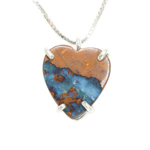 DEEP PASSION NATURAL HEART SHAPED AUSTRALIAN  OPAL NECKLACE