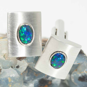ENCHANTED WONDERLAND STERLING SILVER AUSTRALIAN OPAL CUFF LINKS