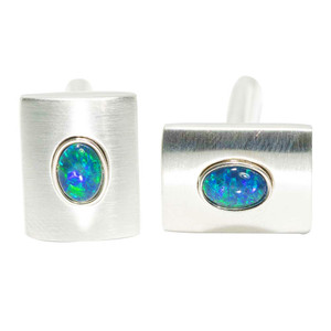 ROYAL AFFAIR STERLING SILVER OPAL CUFFLINKS