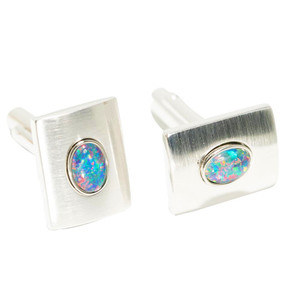 ELECTRIC MOUNTAIN STERLING SILVER GENUINE AUSTRALIAN OPAL CUFFLINKS