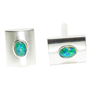 BLISSFUL AFFAIR STERLING SILVER OPAL CUFFLINKS