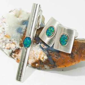 MOUNTAIN VIEW MEN'S OPAL JEWELLERY SET - OPAL CUFFLINGS & OPAL TIE BAR