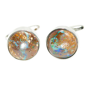 BOULDER ESSENCE STERLING SILVER NATURAL AUSTRALIAN BOULDER OPAL CUFF LINKS