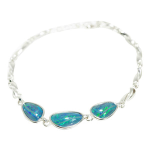 ELECTRIC RAINBOW ROAD STERLING SILVER AUSTRALIAN OPAL BRACELET