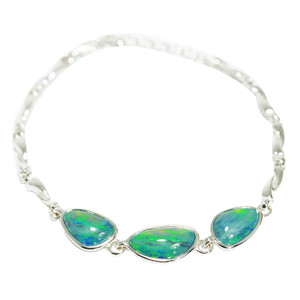 FOREST ADVENTURE STERLING SILVER NATURAL AUSTRALIAN OPAL BRACELET