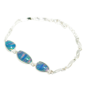 BRILLIANT DESTINY STERLING SILVER NATURAL AUSTRALIAN BLACK OPAL BRACELET