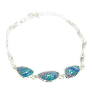 ETERNAL WONDERLAND STERLING SILVER GENUINE AUSTRALIAN BLACK OPAL BRACELET