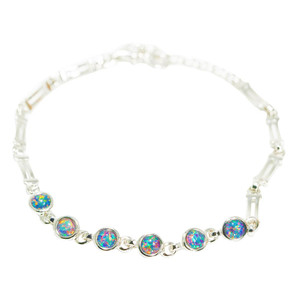 ELECTRIC RAINBOW 5 OPALS STERLING SILVER NATURAL AUSTRALIAN OPAL BRACELET