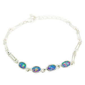 ETERNAL BLISS STERLING SILVER NATURAL AUSTRALIAN BLACK OPAL BRACELET