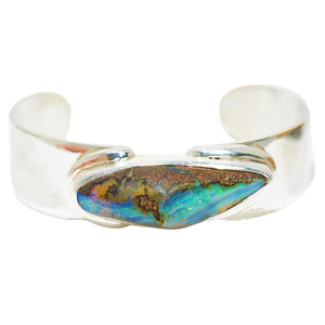 MT. EVERST'S ELECTRIC ESCAPE STERLING SILVER SOLID AUSTRALIAN BOULDER OPAL GEMSTONE BRACELET