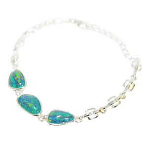 RAINBOW SUNRISE SURPRISE 3 OPALS STERLING SILVER AUSTRALIAN BLACK OPAL BRACELET