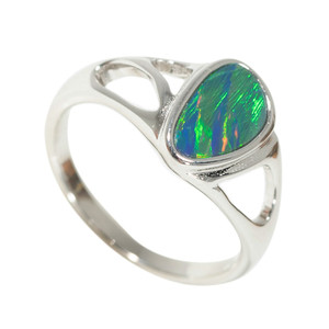 AMAZON FOREST STERLING SILVER AUSTRALIAN BLACK OPAL RING