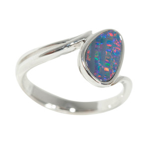 LUXURIOUS DESIRE STERLING SILVER NATURAL AUSTRALIAN OPAL RING