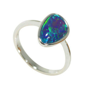 ELECTRIC ELEGANCE STERLING SILVER AUSTRALIAN NATURAL BLACK OPAL RING