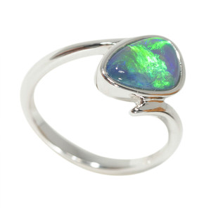 DEEP OCEAN SPLASH STERLING SILVER NATURAL AUSTRALIAN OPAL RING