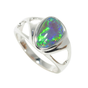 1 CRYSTAL OCEAN MAGIC STERLING SILVER NATURAL AUSTRALIAN OPAL RING