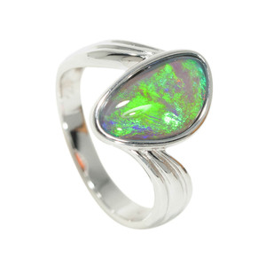 ENCHANTED ISLAND STERLING SILVER BLACK OPAL RING