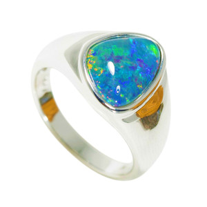 CRYSTAL RAINBOW DROP STERLING SILVER AUSTRALIAN OPAL RING