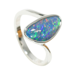HOLIDAY SPLASH STERLING SILVER NATURAL AUSTRALIAN OPAL RING