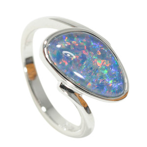 ADVENTURE WONDERLAND STERLING SILVER NATURAL AUSTRALIAN OPAL RING