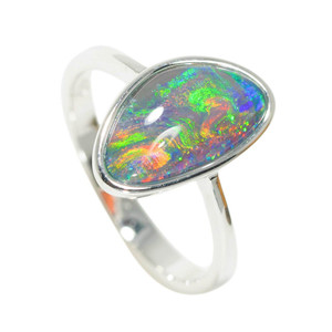 A RAINBOW RIVER STERLING SILVER AUSTRALIAN OPAL RING