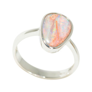 COTTON CANDY MAGESTY STERLING SILVER AUSTRALIAN SOLID BOULDER OPAL RING
