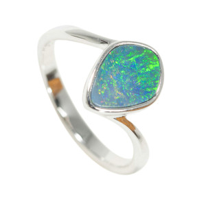 ELECTRIC ELEGANCE STERLING SILVER AUSTRALIAN BLACK OPAL RING