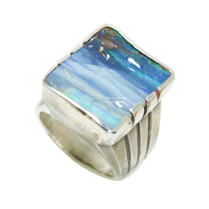 MATAHORN MOUNTAIN STERLING SILVER NATURAL SOLID AUSTRALIAN BOULDER OPAL RING