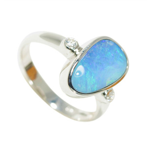 DELICATE TROPICAL OCEAN STERLING SILVER NATURAL AUSTRALIAN BOULDER OPAL RING