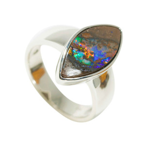 DIAMOND HOLOGRAM STERLING SILVER NATURAL AUSTRALIAN BOULDER OPAL RING