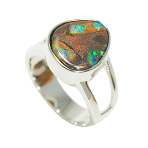 ENCHANTED AMAZON FOREST STERLING SILVER NATURAL AUSTRALIAN BOULDER OPAL RING