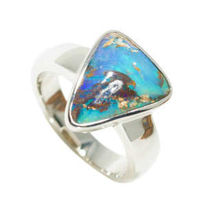 AMAZON TRIANGLE STERLING SILVER NATURAL AUSTRALIAN BOULDER OPAL RING