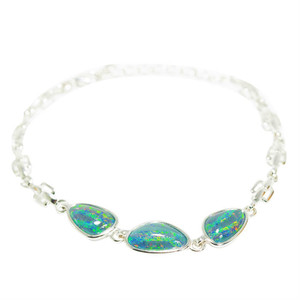 RAINBOW SPLASH SURPRISE 3 OPALS STERLING SILVER NATURAL AUSTRALIAN BLACK OPAL BRACELET