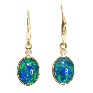 NATURAL PASSION 14KT WHITE GOLD & DIAMOND AUSTRALIAN OPAL DROP EARRINGS