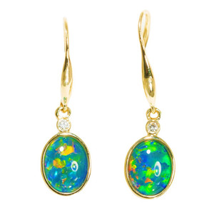 MOTHERS NATURE 14KT YELLOW GOLD & DIAMOND AUSTRALIAN OPAL DROP EARRINGS