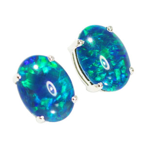 ANGEL DROP STERLING SILVER AUSTRALIAN OPAL STUD EARRINGS