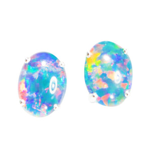 ELECTRIC BRIGHT SUNRISE STERLING SILVER AUSTRALIAN  OPAL STUD EARRINGS