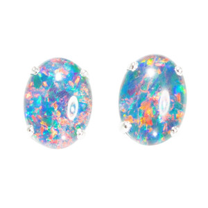 BRIGHT CONFETTI DELIGHT STERLING SILVER AUSTRALIAN  OPAL STUD EARRINGS