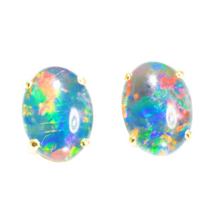 BRILLIANT RAINBOW 18kt GOLD PLATED AUSTRALIAN  OPAL STUD EARRINGS