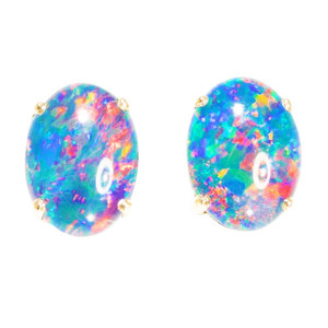 NEON PINK BLAST GEM 14KT GOLD AUSTRALIAN  OPAL STUD EARRINGS