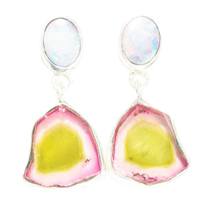 CANDY WATERMELON STERLING SILVER AUSTRALIAN BOULDER OPAL & TOURMALINE EARRINGS